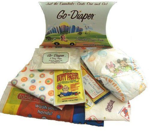 GO DIAPER Basic Plus Disposable Diaper Kit Size 3 Set of Two by GoDiaper. $10.99. Take GoDiaper Disposable Diaper Packs to restaurants or the mall. Great to keep at Grandmas house or in the car and to toss in your purse for short trips or errands around town. Each pack contains a diaper, changing pad, butt paste, baby wipes and an anti-bacterial wipe plus a stick on placemat and disposable bib. Sizes 2 through 6 for babies.