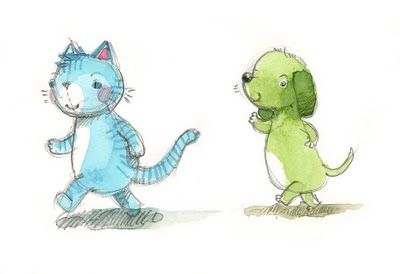 Blue cat and green dog color sketches by Aleksandra Chabros aka Adelaida