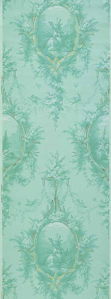 light viridian wall covering in elegant Victorian pattern