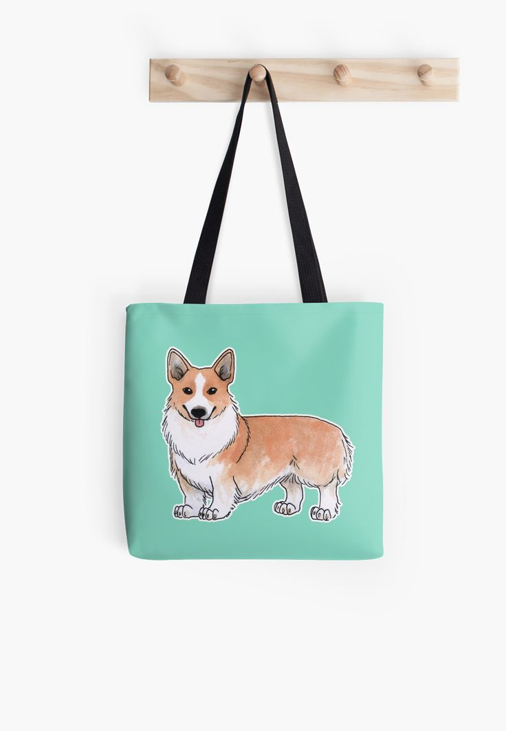 """Corgi dog"" Tote Bag by Savousepate on Redbubble #totebag #bag #corgi #dog #cute #drawing #watercolor #white #orange #ginger #blue #turquoise #aqua #mint"