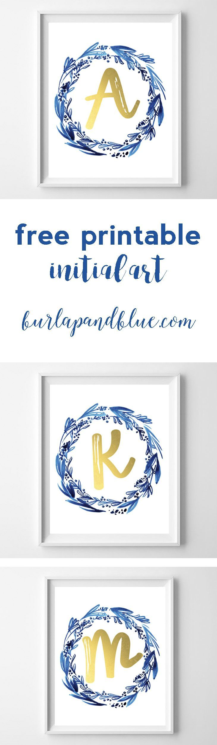 free printable initial art in indigo and gold! perfect for a gift, nursery or home decor.Nx