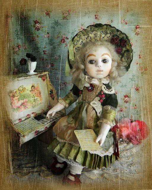 Мой Мааа...ленький блог Stelena Dolls: Текстильная шарнирная кукла в антикварном стиле, заключительный пост