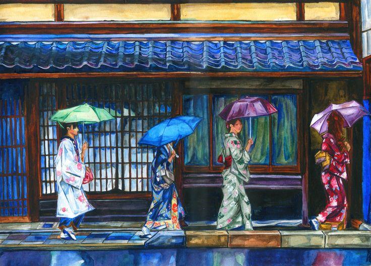 """""""Girls In a Row"""" by BreakfastTears.deviantart.com on #DeviantArt #watercolor"""
