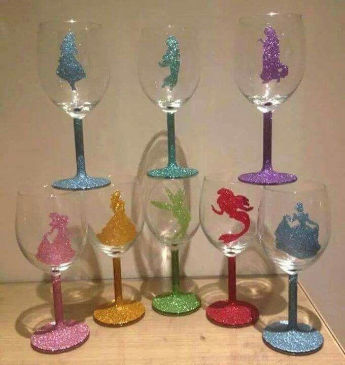 Glitter Disney princess silhouettes!
