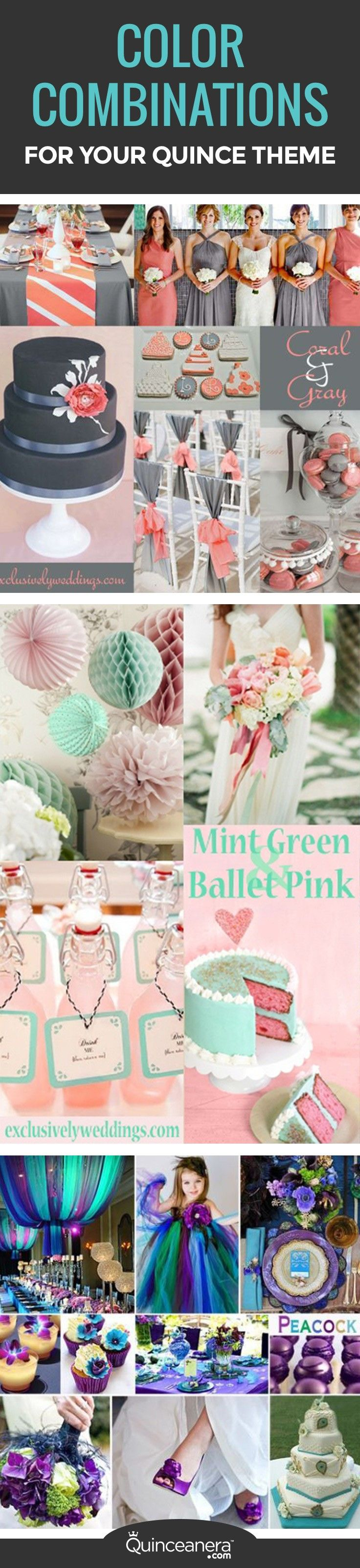These color themes stand out from the traditional monotoned colors! Each theme has a personality that speaks for itself. Find the one that matches yours!:  - See more at: http://www.quinceanera.com/decorations-themes/how-to-combine-colors-for-a-quince-theme/?utm_source=pinterest&utm_medium=social&utm_campaign=article-011516-decorations-themes-how-to-combine-colors-for-a-quince-theme#sthash.7zVk3CUR.dpuf