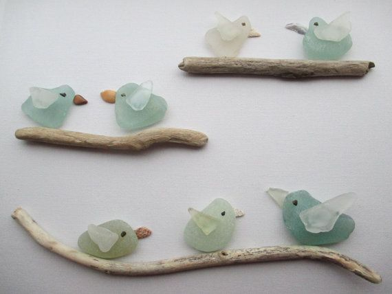 Six Sea Glass and Shell Birds on Driftwood by ShoreThingsNE, £19.99