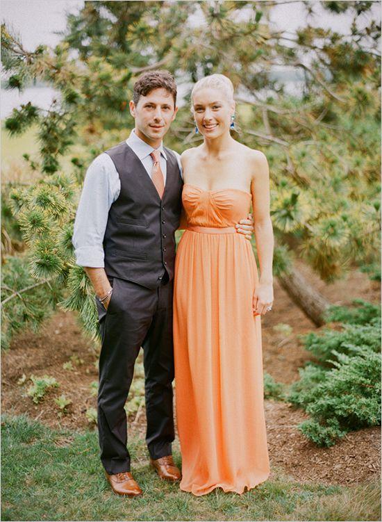 Tangerine orange wedding reception dress by BCBG.