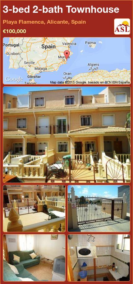 3-bed 2-bath Townhouse in Playa Flamenca, Alicante, Spain ►€100,000 #PropertyForSaleInSpain