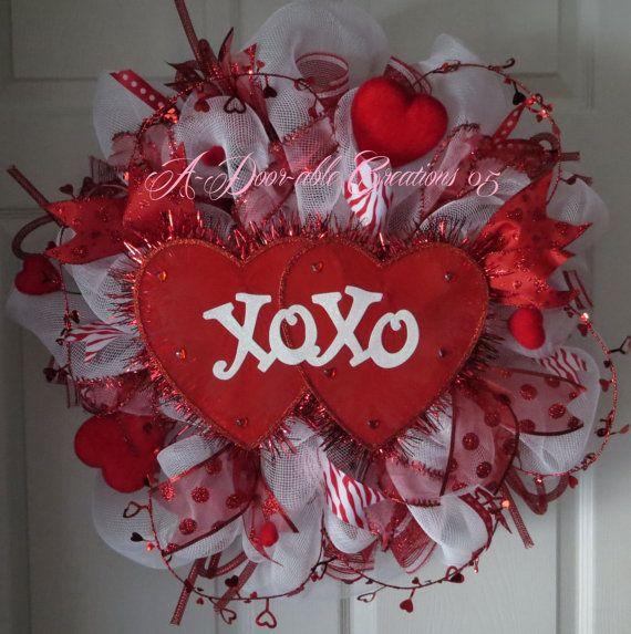 XOXO Double Heart Valentine Deco Mesh by ADoorableCreations05, $69.00