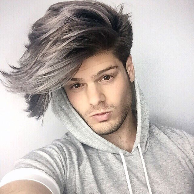 Just finished my Smokey Grey painted in ombré (video coming soon) as my hair transformation part 2! So much love to @robpizzutidotcom for making the transformation happen...the blue stage was my toning point, so I love that this is the final result. Tag 3 friends who you think will like it! #menshair #ombre #menshairstyles #coloredhair #dye