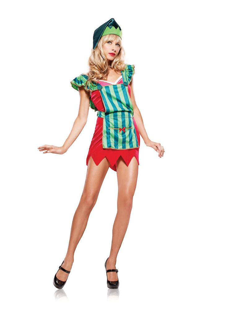 "'""3pc. Workshop Elf; includes a stretch velvet v-neck mini dress with adjustable straps and zig zagtrim; striped apron with scalloped straps; large button accent; gold ribbon trim and over sized pocket; matchign hat with bell.""'"