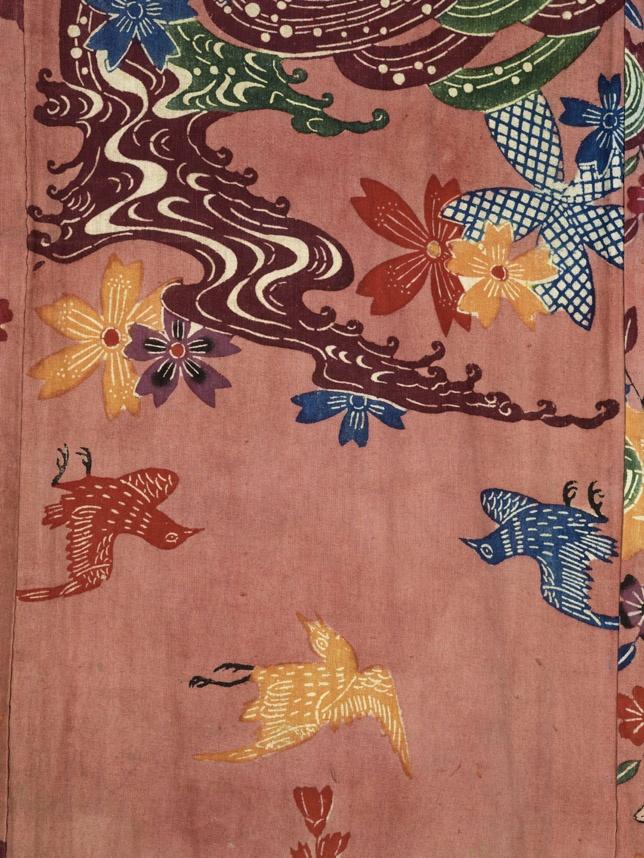 detail of Man or woman's kimono Japanese Stencilled cotton tabby Centimetres: 106.7 (length), 109.2 (width) late 19th century Edo Area of Origin: Japan (Okinawa). ROM Images