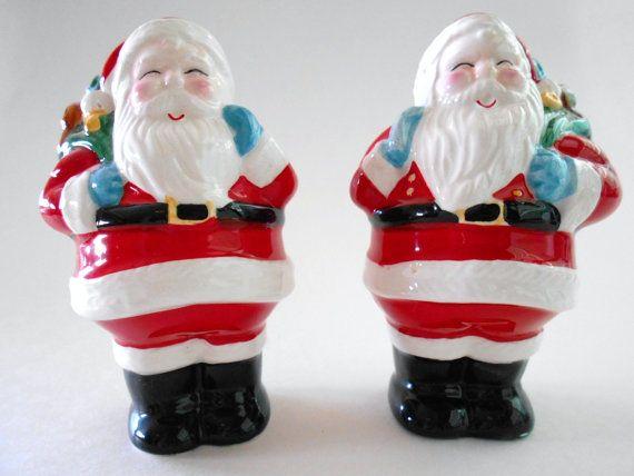 Vintage sale e pepe shaker Babbo Natale mano dipinta Shakers in ceramica Natale vacanza cucina Table Decor regalo cambio Hostess