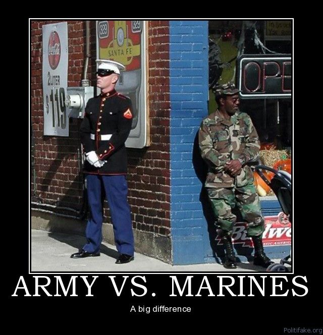 OOHRAH!..hahaha..I have both in my house, Army ( Husband and son), Marine ( son). But none ever slouched like that. They all stand tall like a Marine:-)