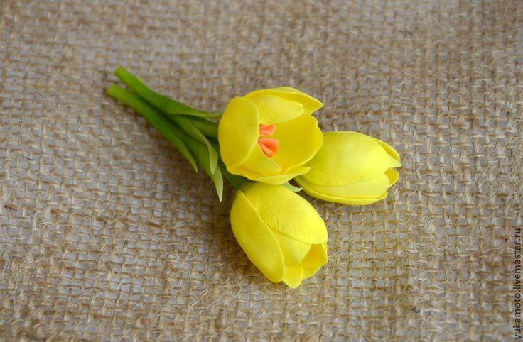Купить Нежность весны...(брошь) - желтый, брошь с крокусами, брошь с цветами, желтые крокусы