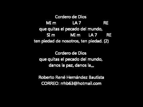 CANTOS PARA MISA - CORDERO DE DIOS 2 - LETRA Y ACORDES - YouTube