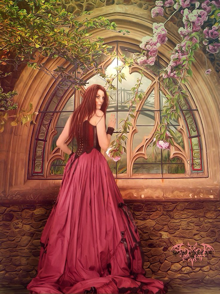 A Summer Day  credits window https://pixabay.com/en/church-window-france-702978/ background http://fairiegoodmother.deviantart.com/art/Premade-BK-Stock-274-149155043 model http://elandria.deviantart.com/art/Creeping-Tears-149-134263947 stone wall http://jrrhack.deviantart.com/art/Stone-wall-144200793 branch http://aledjonesstocknart.deviantart.com/art/Hanging-Leafy-Branches-PNG-460990238 branch http://jean52.deviantart.com/art/Branches-cerisier-529936519