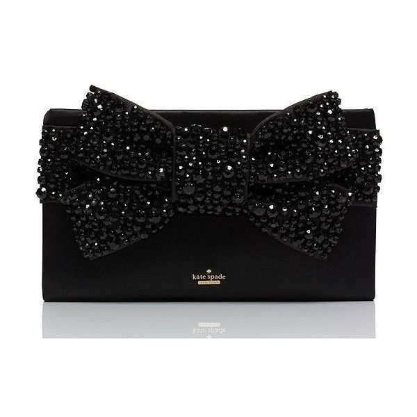 Kate Spade Evening Belles Lucinda ($598) ❤ liked on Polyvore featuring bags, handbags, clutches, black bow purse, kate spade, black handbags, special occasion clutches e cocktail purse