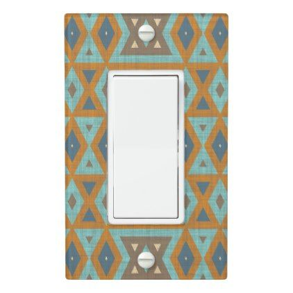 Teal Turquoise Orange Brown Eclectic Ethnic Look Light Switch Cover - rustic gifts ideas customize personalize