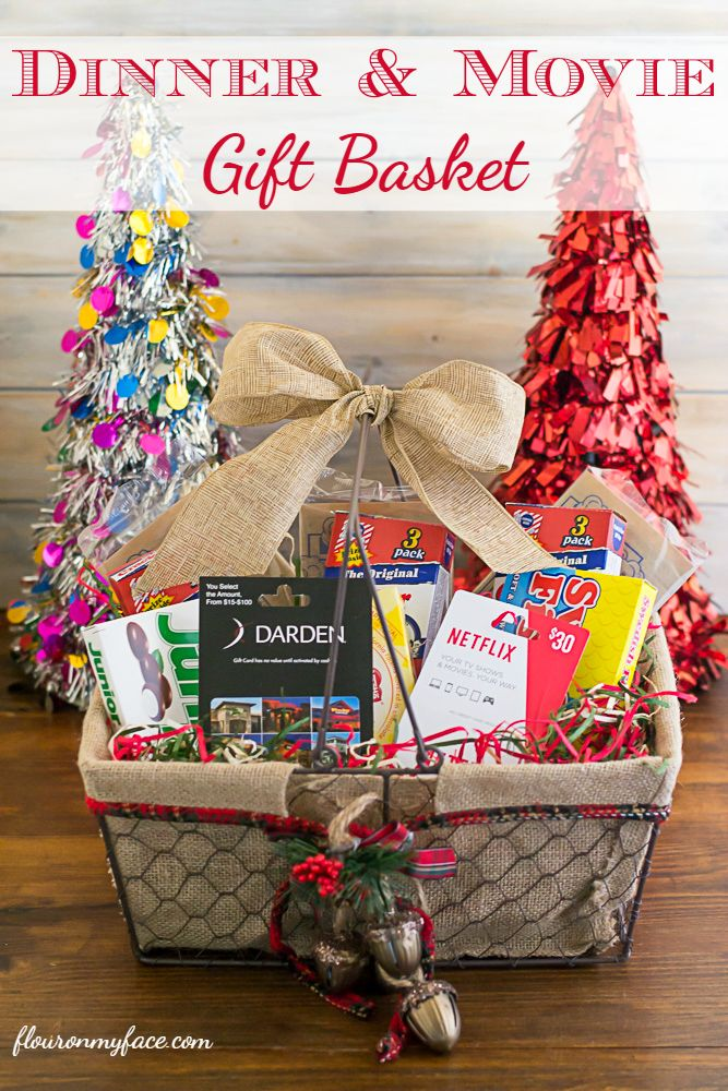 A personalized Dinner and Movie Gift Basket makes a great DIY Christmas gift #ad #WrappedInStyle via flouronmyface.com