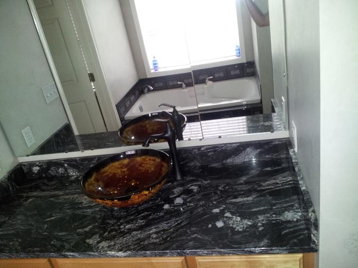 Titanium Granite Countertop For Our Masterbath With Black