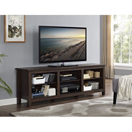 70 inch Wood Media TV Stand Storage Console - Traditional Brown