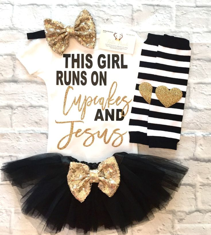 Baby Girl Clothes, This Girl Runs On Cupcakes and Jesus Onesie, Religious Bodysuits, Jesus and Cupcakes Shirt, Baby Girl GOD shirts, Baby Girl Baby Shower - BellaPiccoli