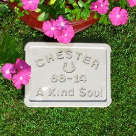 I make inexpensive cement pet gravstones/plaques for those that have lost special pets or equines.  This image is a medium sized marker and costs $40.  It can be shipped anywhere in Australia for around $13 and measures 22cm x 28cm.