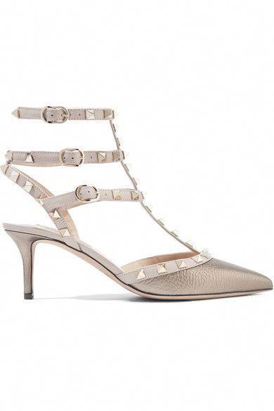 9018d4af4fb VALENTINO Rockstud Metallic Textured-Leather Pumps.  valentino  shoes  pumps