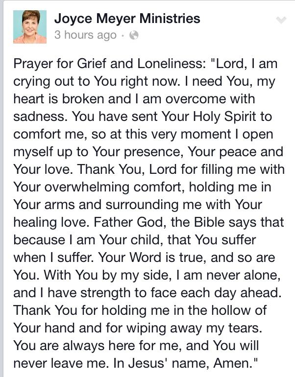 Prayer for grief n loneliness
