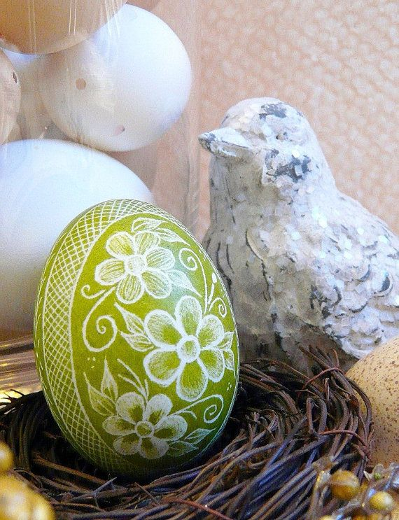 Spring Easter Green - Lithuanian Pysanky Present - Real Egg - Free Wooden Stand - by Christine Luschas - etsy.com
