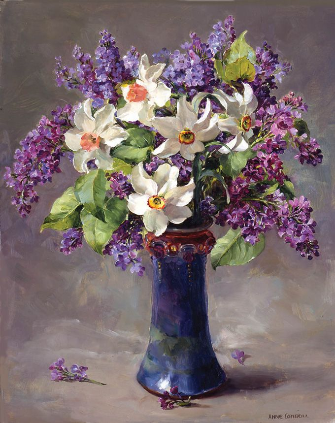''  Narcissi with Lilac'' Anne Cotterill