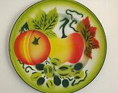 Vintage Enamelware Plate with Fruit Design