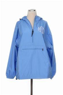 Monogram It!   Bluetique Cheap Chic #monogram #rain #jacket #pullover #hoodie #halfzip #sorority #greeklife #royal #red #orange #babyblue #black #navy #college #bright #colorful #comfy #sweatshirt #windbreaker #unlined