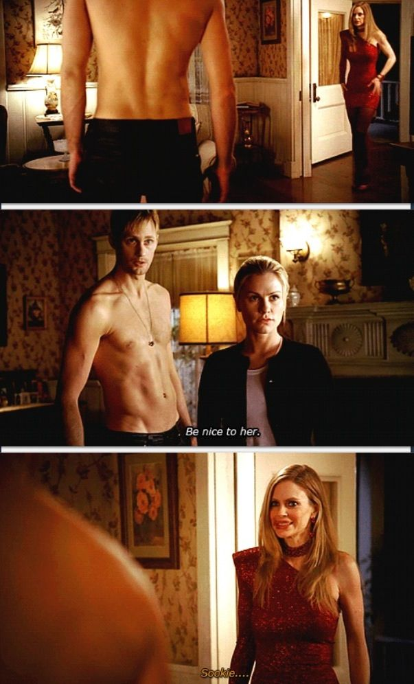 "True blood- sookie, Eric & Pam - ""be nice to her..."" Haha"