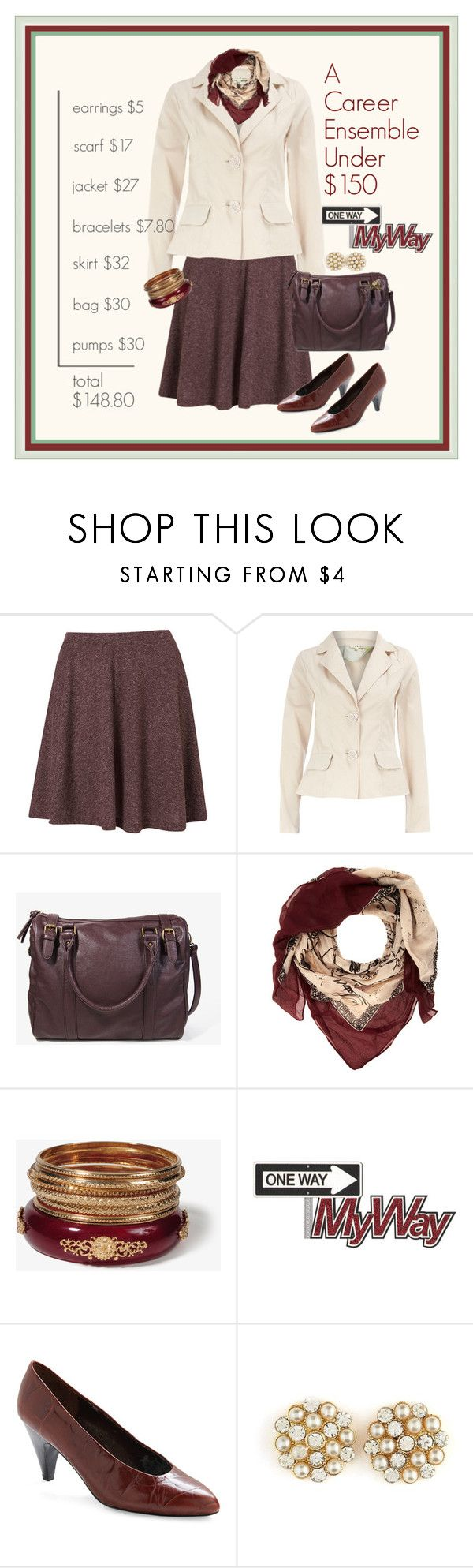 """""""Contest: A Career Ensemble Under $150"""" by halebugg ❤ liked on Polyvore featuring Topshop, Dorothy Perkins, Forever 21, Charlotte Russe, gold bangles, pearl earrings, leatherette, forever 21, oxblood skirt and wine bracelet"""