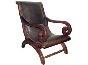 Authentic Antique Leather Plantation Chair British