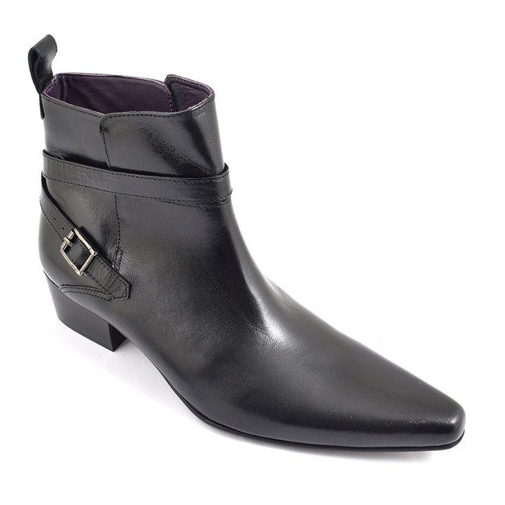 Gucinari Mens Black Buckle Pointed Toe Cuban Heel Boot