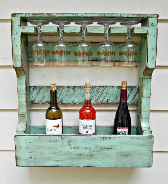 Rustic Wood Wine Rack, Distressed Turquoise, Pallet Wine Rack,Wine Storage 5 glass holder, Hang or Stand Up, Aged Pallet Lumber, Unique