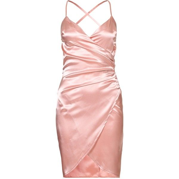 Nly One Wrap Satin Dress ($46) ❤ liked on Polyvore featuring dresses, vestidos, pink, pink dress, zip dress, zipper dress, thin dress and wrap cocktail dress