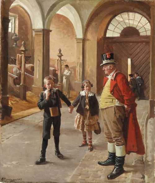 In The Stable by Erik Ludvig Henningsen (Danish 1855 – 1930)....a D.anish coachman's livery...