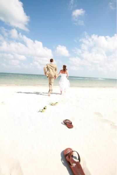 Cute beach wedding picture