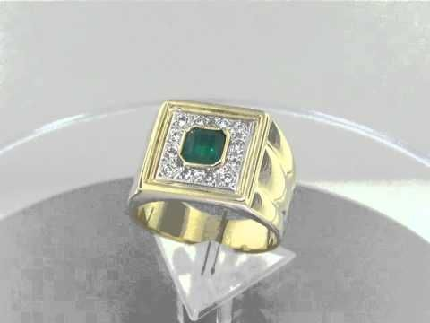 Men's emerald and diamond ring MR-DCTO-068 by www.GreenInGold.com #emeralds #rings