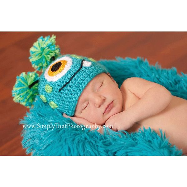 Crochet Baby Hat Little Monster made to order 3 to 6 months Photo Prop found on Polyvore