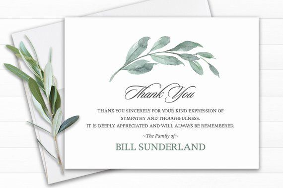 Funeral Thank You Cards template Green Leaf Thank You Cards Memorial Service Ideas Personalized Funeral card Funeral Template for men