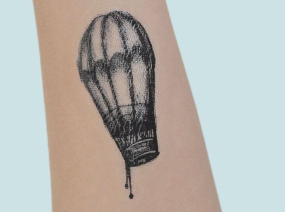 Hot Air Balloon Temporary Tattoo Tattoo by JoellesEmporium on Etsy