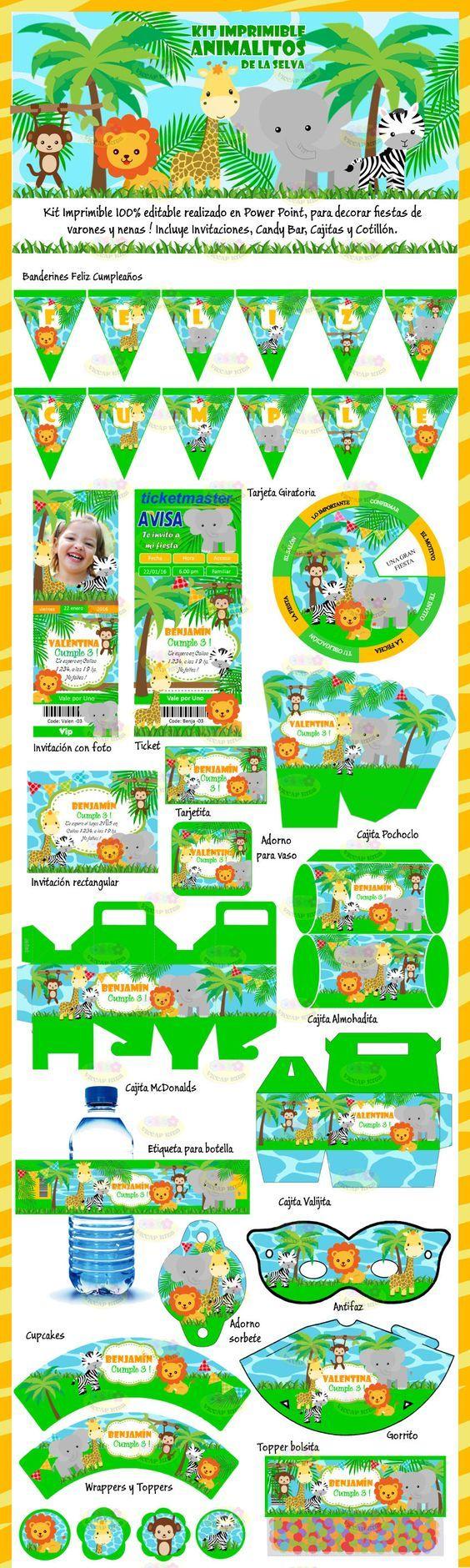 Kit Imprimible Animalitos de la Selva: Incluye invitaciones, Candy Car, Cajitas, Banderines y muchas cosas mas! Se envía por email y es editable con Power Point. Hacé clic en visitar para verlo completo !