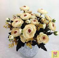 3 X Artificial Flower Silk Flowers Cream Peony Flower Bushes cintahomedeco