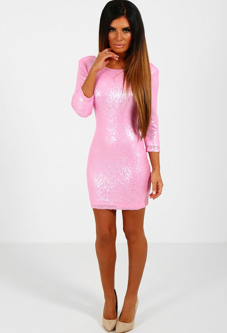 Gianna Pink Sequin Bodycon Mini Dress | Pink Boutique