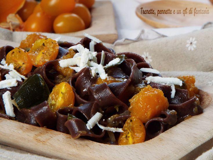 Fettuccine+al+cacao+con+zucca+e+datterino+giallo+caramellato
